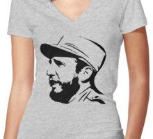 Fidel Castro in Black. Women's Fitted V-Neck T-Shirt