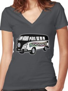 Duchovniacs Bus - David Duchovny Fan Squad Women's Fitted V-Neck T-Shirt