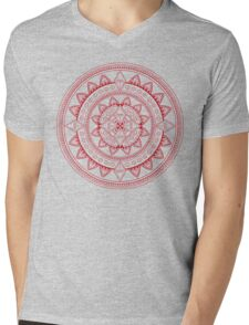 Mandala Red Mens V-Neck T-Shirt