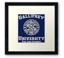 Gallifrey University Time Lord Academy white Framed Print
