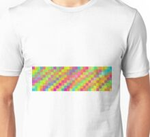 bright and colorful pixel abstract background in green red orange blue yellow pink and purple Unisex T-Shirt