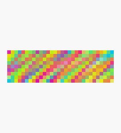 bright and colorful pixel abstract background in green red orange blue yellow pink and purple Photographic Print