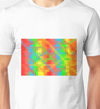 yellow green blue orange and red pixel abstract background Unisex T-Shirt