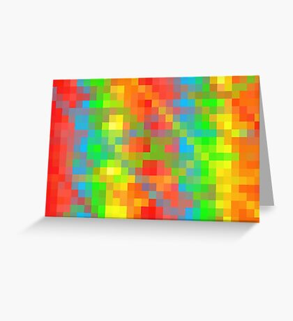 yellow green blue orange and red pixel abstract background Greeting Card
