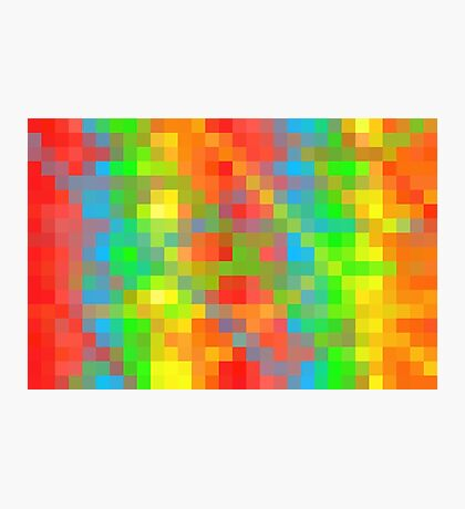 yellow green blue orange and red pixel abstract background Photographic Print
