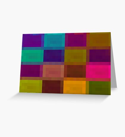 pink blue purple orange and green pixel abstract background Greeting Card