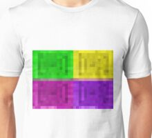 green yellow pink purple pixel abstract background Unisex T-Shirt