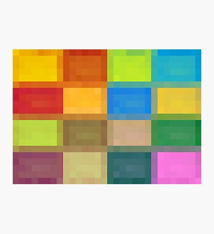 colorful square pixel abstract background in red blue orange pink purple and green Photographic Print