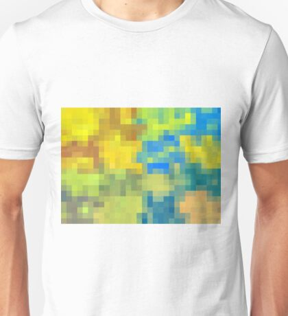 green blue yellow and brown pixel abstract background Unisex T-Shirt