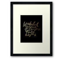Wanderlust Gumption Lady - Gold Lettering on Black Framed Print
