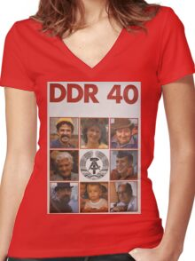 DDR 40, 40 years East Germany, Propaganda Poster 1989 Women's Fitted V-Neck T-Shirt