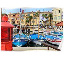 Traditional boats in port of Sanary-sur-Mer , Var, France Poster