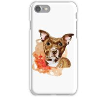 Brown Pit Bull Drawing with Orange Abstract Watercolor iPhone Case/Skin