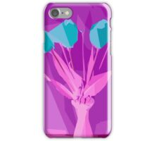 green flowers with pink leaves and purple background iPhone Case/Skin