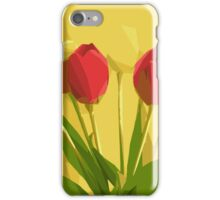 red flowers with green leaves and yellow background iPhone Case/Skin