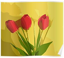 red flowers with green leaves and yellow background Poster