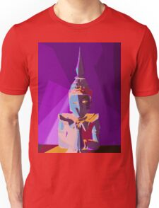 purple blue red and yellow buddhist style abstract background Unisex T-Shirt