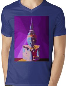 purple blue red and yellow buddhist style abstract background Mens V-Neck T-Shirt