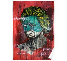 pop art Beethoven abstract ink painting  Poster