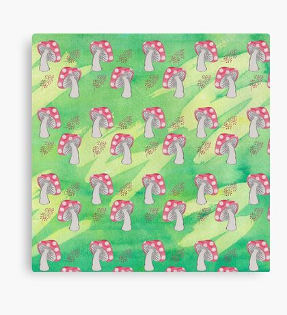 Toadstool and Berries Pattern Canvas Print