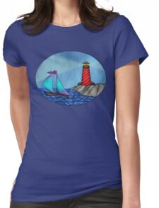 Lighthouse & Sailboat seascape Womens Fitted T-Shirt