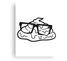 geek nerd hornbrille schlau cool fladen kleines scheiße kacke haufen kot riechen ekelhaft häufchen comic cartoon  Canvas Print