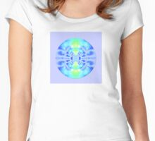 Winter Holiday Icy Blue Flower Inside A Snowflake on Lavender Women's Fitted Scoop T-Shirt