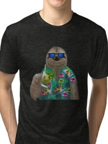 Sloth on summer holidays drinking a mojito Tri-blend T-Shirt