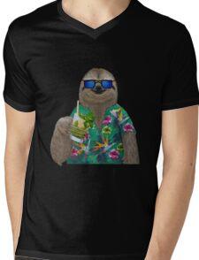 Sloth on summer holidays drinking a mojito Mens V-Neck T-Shirt