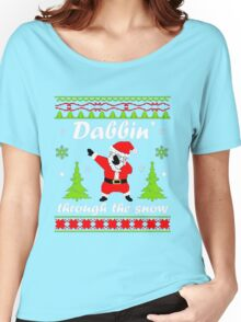 Dabbin Through the Snow Santa Ugly Christmas Sweater T-Shirt Women's Relaxed Fit T-Shirt