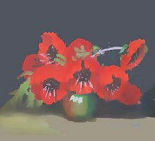poppies  in vase by OlaG