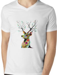 Deer Flower Mens V-Neck T-Shirt