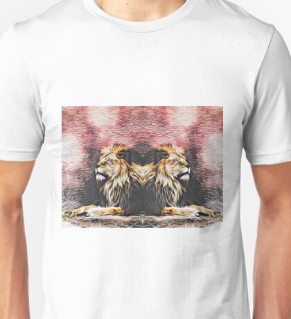 lions sleeping with red background Unisex T-Shirt
