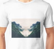 green mountains with ocean view and foggy sky Unisex T-Shirt