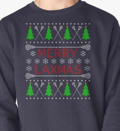 Merry Laxmas Ugly Christmas Sweater Style Lacrosse Design Pullover