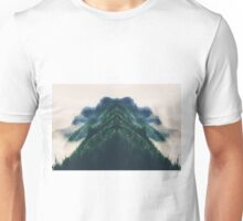 beautiful green mountain in the foggy day Unisex T-Shirt