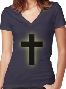 Cross (backlit gold) Women's Fitted V-Neck T-Shirt