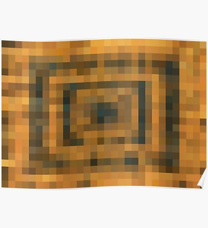 brown black and orange pixel abstract background Poster