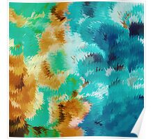 green blue and brown painting abstract background Poster