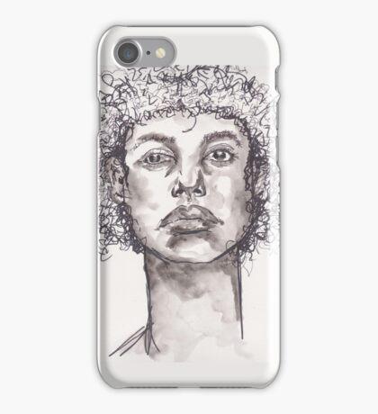 Watercolor BW Portrait iPhone Case/Skin