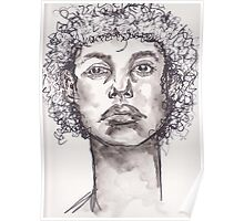 Watercolor BW Portrait Poster