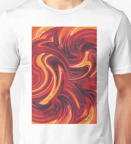 yellow red and brown spiral painting abstract background Unisex T-Shirt