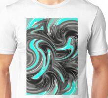 blue and black curly painting texture abstract background Unisex T-Shirt