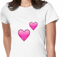 Emoji Two Hearts Womens Fitted T-Shirt