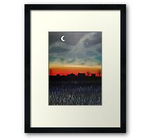 Crescent moon and Jupiter Framed Print