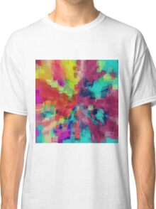 pink red orange yellow blue and green square pattern abstract background Classic T-Shirt