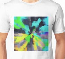 blue green yellow and black square pattern abstract background Unisex T-Shirt