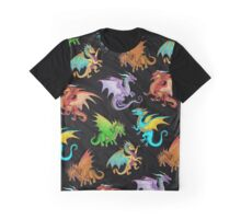 Colorful Rainbow Dragons School Graphic T-Shirt