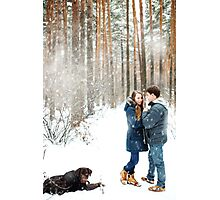 Couple in love having fun with labrador dog Photographic Print