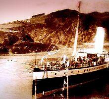 Boat in port circa 1910 by cherylkerkin